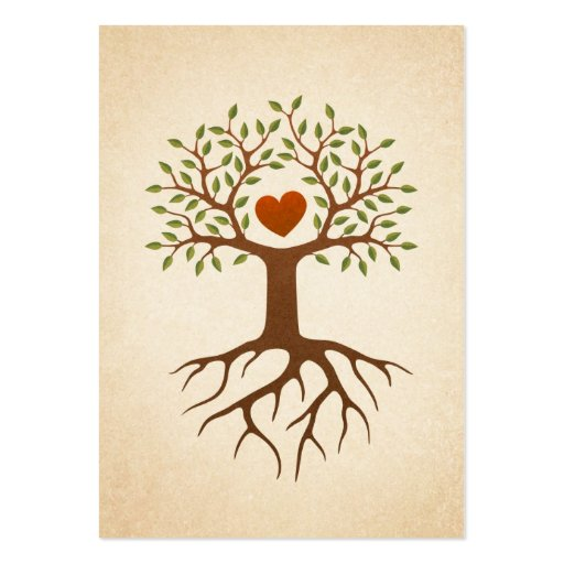 Tree with heart and roots large business card
