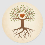 Tree with heart and roots round stickers