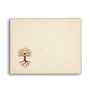 Tree with heart and roots textured envelope