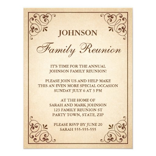 Tree with heart ornate frame family reunion invite (back side)