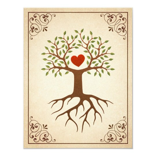 Tree with heart ornate frame family reunion invite