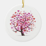 Tree with Hearts Double-Sided Ceramic Round Christmas Ornament