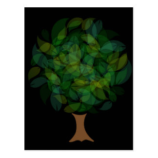 Tree with leaves in shades of green postcard