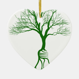Tree with light bulb roots ceramic ornament