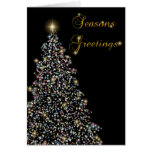 Tree with lights black greeting card