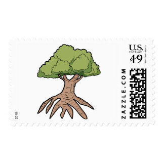 Tree With Long Roots Postage