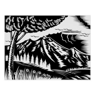 tree with mountain in background woodcut poster
