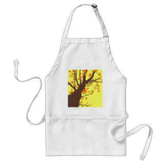 Tree with Orange Circles Abstract Art Adult Apron