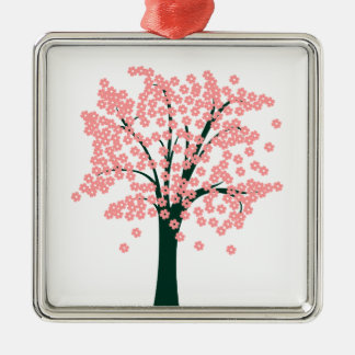 Tree with Pink Flowers Square Metal Christmas Ornament