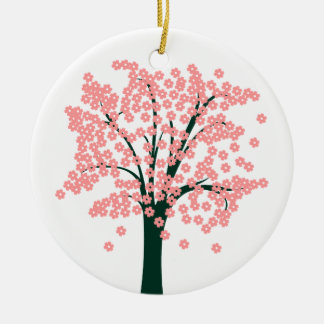 Tree with Pink Flowers Double-Sided Ceramic Round Christmas Ornament
