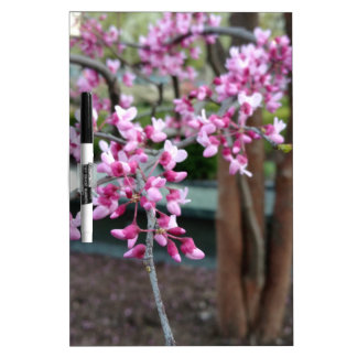 Tree with Pink Purple Flower Blossoms & Tree Trunk Dry-Erase Board