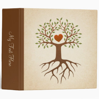 Tree with roots and branches surrounding a heart binder