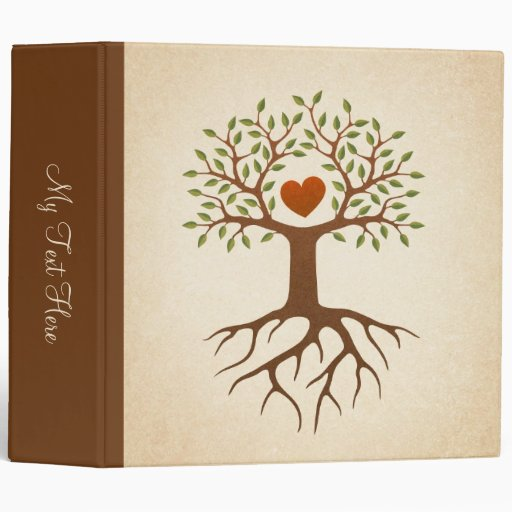 Tree with roots and branches surrounding a heart binders