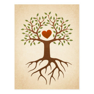 Tree with roots and branches surrounding a heart postcard