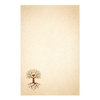 Tree with roots and hearts elegant stationery