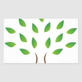 Tree with slim figure showing weight loss rectangular sticker