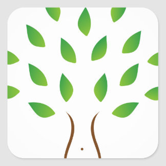 Tree with slim figure showing weight loss square sticker