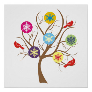 Tree with snowflakes and cardinals custom poster