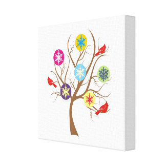Tree with snowflakes and cardinals modern canvas print