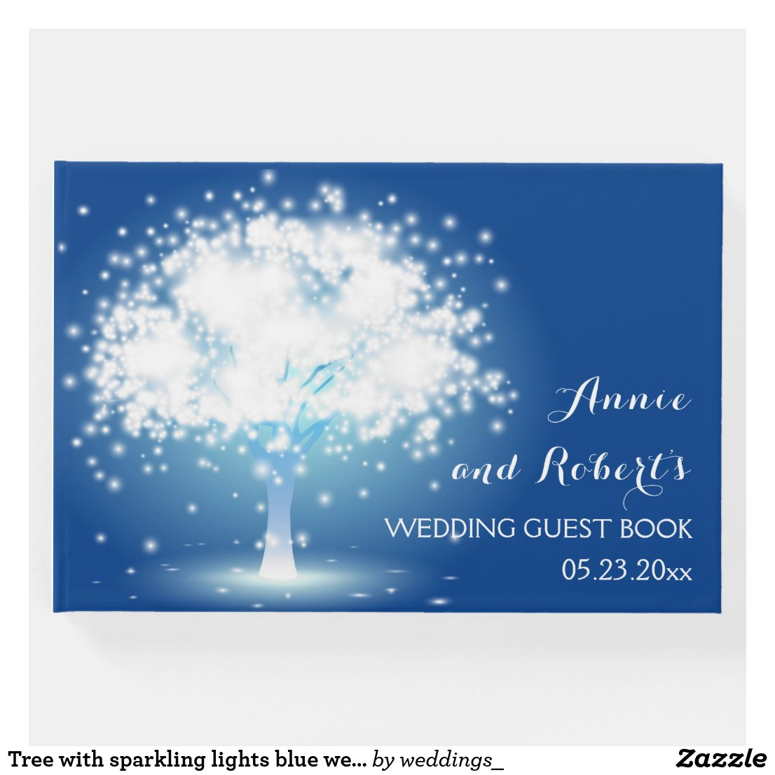 Tree with sparkling lights blue wedding