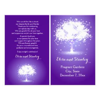 Tree with sparkling lights purple wedding program