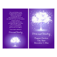 Tree with sparkling lights purple wedding program 8.5