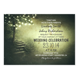 tree with string lights green rustic wedding 5x7 paper invitation card