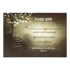 tree with string lights rustic wedding RSVP cards