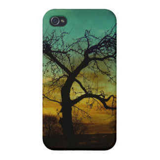 Tree with Sunset Backdrop Scene iPhone 4/4S Covers