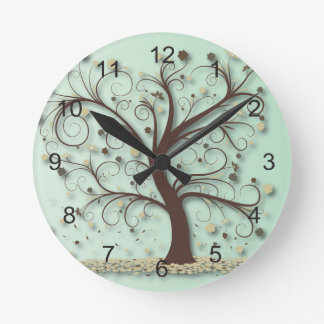 Tree with Swirling Branches Round Clocks