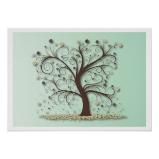 Tree with Swirling Branches Poster