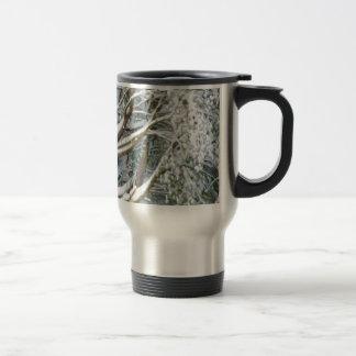 Tree with white fluffy snow travel mug