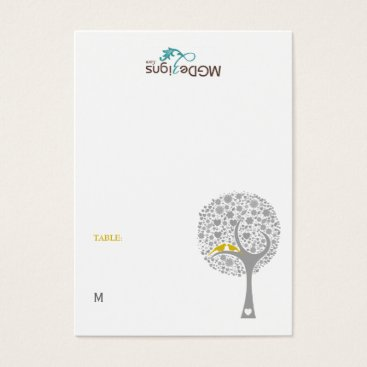 tree yellow lovebirds guest Place card