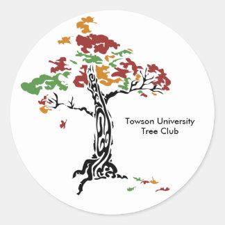 TreeClub_4color, club de Towson UniversityTree Pegatina Redonda