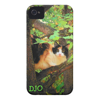 Treed Calico Cat with your initials iPhone 4 Case