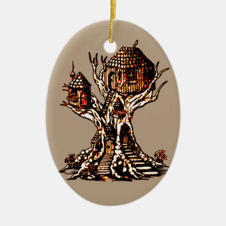 Treehouse 2 ceramic ornament