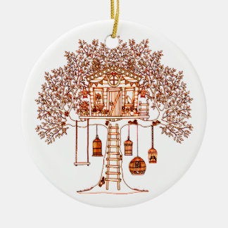 Treehouse Ceramic Ornament