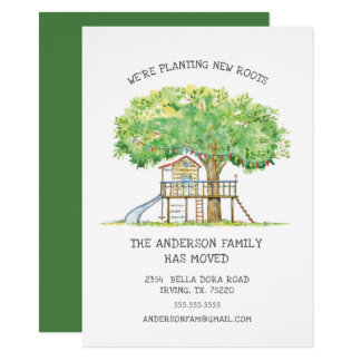 Treehouse Cute Family Moving Announcement
