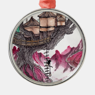 Treehouse Round Metal Christmas Ornament