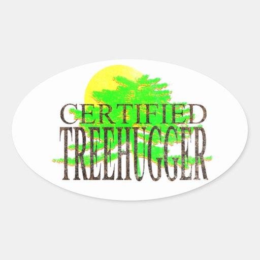 Treehugger certificado pegatina ovalada