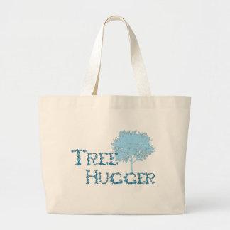 TreeHugger w/ tree Large Tote Bag