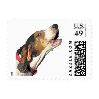 Treeing Walker Coonhound Art on Postage Stamp
