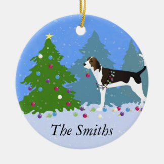Treeing Walker Coonhound Decorating Christmas Tree Double-Sided Ceramic Round Christmas Ornament