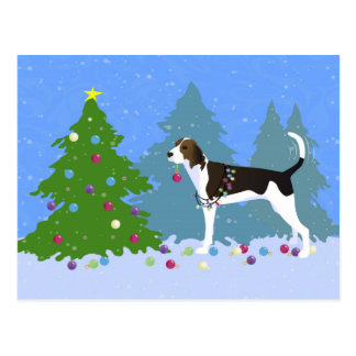 Treeing Walker Coonhound Decorating Christmas Tree Postcard