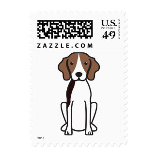 Treeing Walker Coonhound Dog Cartoon Stamp