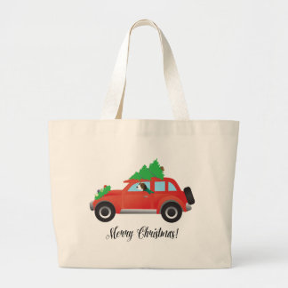 Treeing Walker Coonhound Driving a Christmas Car Large Tote Bag