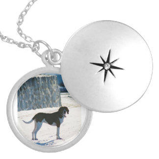 treeing walker coonhound on beach.png silver plated necklace