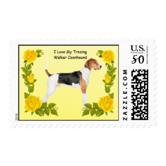 Treeing Walker Coonhound & Yellow Roses Postage