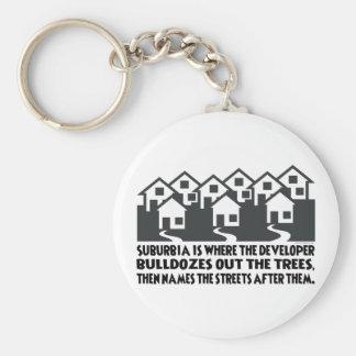 Treeless Suburbia Basic Round Button Keychain