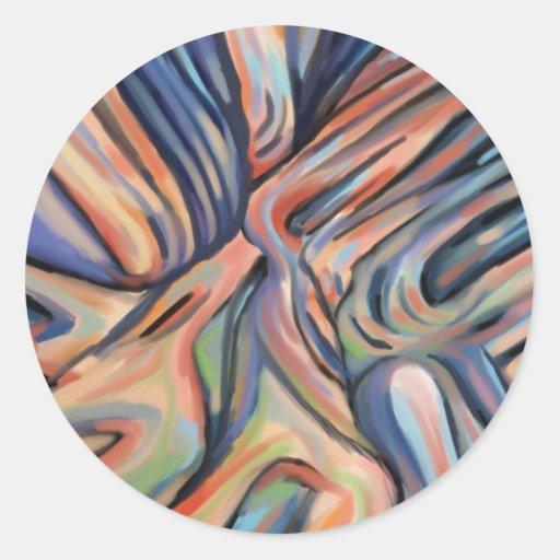 """Treelike rosáceo"" - una pintura digital Pegatina Redonda"
